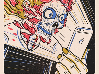 Face ID iphone apple gore skull drawing texture print risograph illustration sketch
