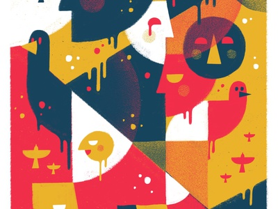 Secret Bad Boy — WPFA flat red yellow birds faces texture app procreate illustration