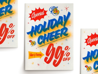 Holiday Cheer! design type illustration alex sheyn print sign painter lettering risograph riso cheer holiday card