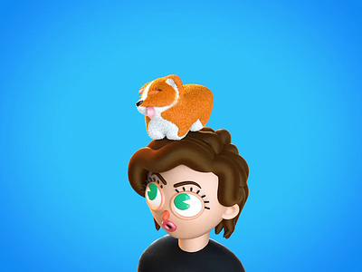 Roni's Corgi render c4d animation alex sheyn cinema 4d 3d animation corgi puppy 3d girl dog