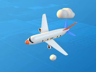 Vomit Comet airline airplane plane 3d animation gif cinema 4d alex sheyn