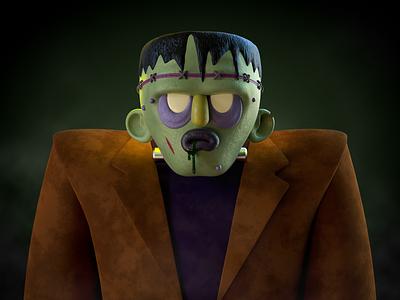 Frank character halloween monster frankenstein render c4d animation illustration cinema 4d alex sheyn