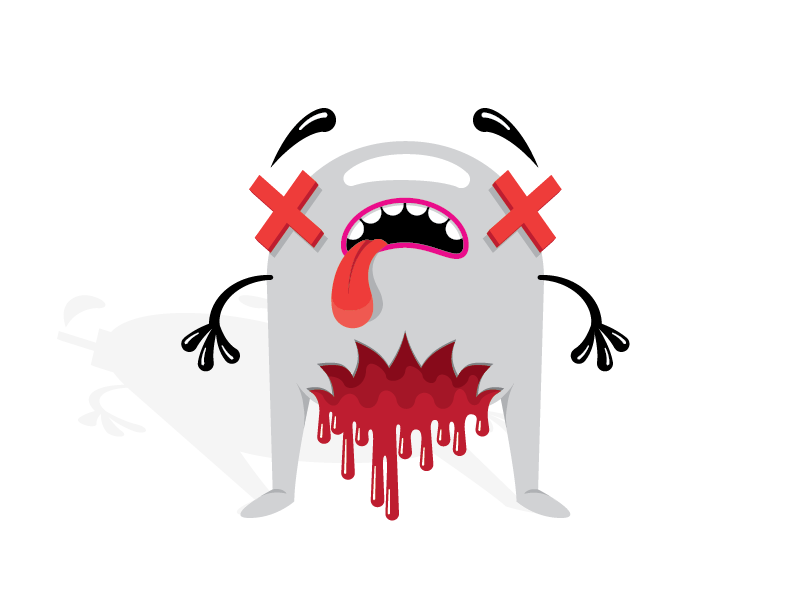 Quit shootin' peeps! illustration clean simple dead red white blood bite wip