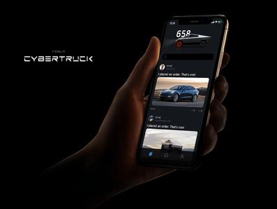 (tesla)cybertruck and social app app ui design