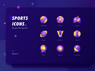 Sports Icons ping pong billiards others tennis badminton rugby e-sports basketball football ui app sports icon