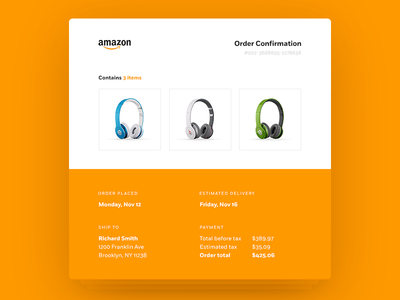 Daily UI #017 Email Receipt minimal clean redesign amazon receipt email 017 dailyui daily ui