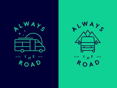 Always The Road Take 01 van travel minimal illustration logo