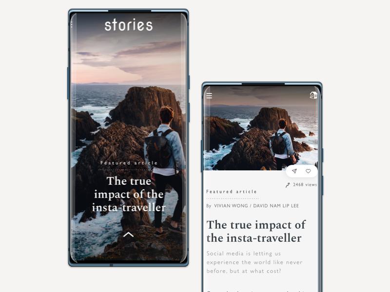 Stories - a reading concept flinto prototype ui editorial desktop mobile reading ux stories