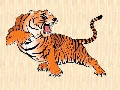 Warsaw Tigers Logo tiger orange basketball sports gym gymnasium school mascot growl