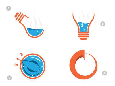Time for a new logo... logo branding orange blue gray light bulb boiling water oven knob