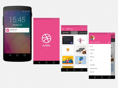 Dribbble App Concept side menu grid splash notification android app dribbble material