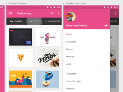 Dribbble App Concept Expanded photoshop artboards animation material dribbble