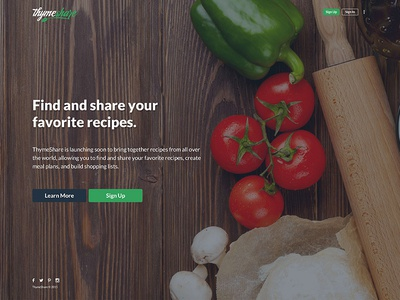 Thymeshare sign up 404 settings profile cards material web app sharing recipes