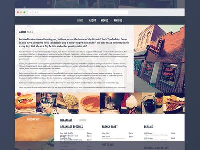 Nick's Kitchen Website burgers shakes food about menu desktop responsive shirts indiana pie tenderloin restaurant