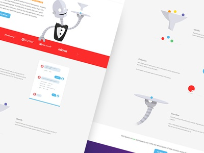 POS Butler robot flat character persona one page web design point of sale