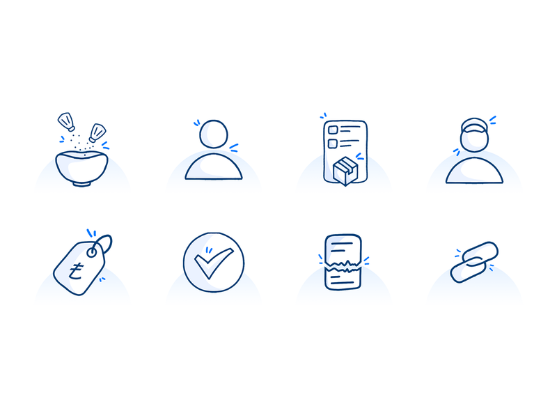 Hand Drawing Icons for Dashboard orders icon link icon user icon success icon blue icon icon set dashboard icon hand draw icon icon hand drawn
