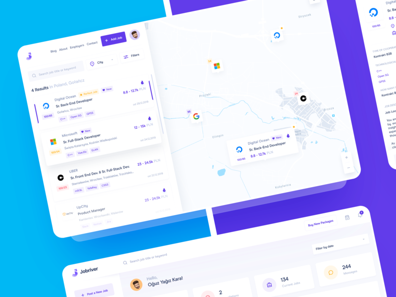 Find Job Web App: All Pages dashboard design custom dashboard analytics search results search bar map listing map map dashboard jobriver job board job application dashboard app dashboard ui dashboard job