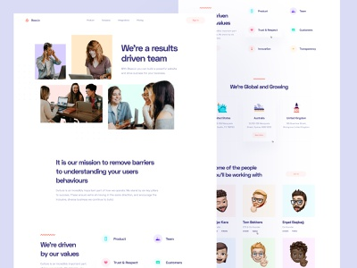 SaaS: Company Page team page pastel colors colorful landing landing pages saas landing page saas website saas design saas app saas landing page about page about company page company