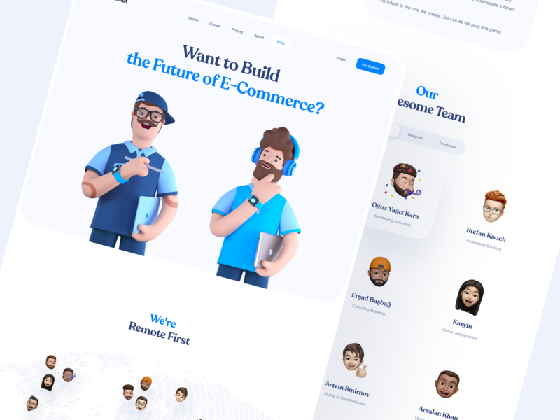 Website for BlueReceipt on Awwwards 🤩 : About Page about us 3d character 3d memoji team team page product page saas landing page saas landing page design about about page landing page awwwards landing
