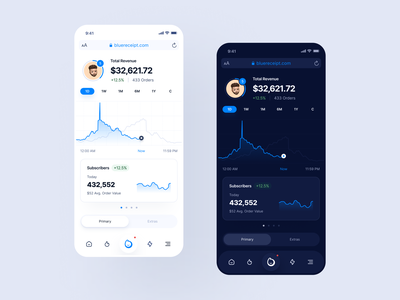 Mobile Dashboard: BlueReceipt tracking app financial app chart mobile chart filter table dashboard ui responsive mobile app mobile dashboard saas dashboard saas mobile dashboard