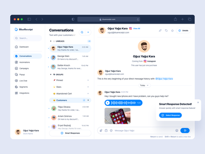 Conversation: BlueReceipt conversational ui instagram omni-channel chatting saas conversational convo dashboard conversations conversation