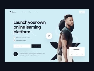 Landing Page: Hero education landing page education landing education template builder landing page ui landing page design landing animation landing page saas webflow template design quillow template