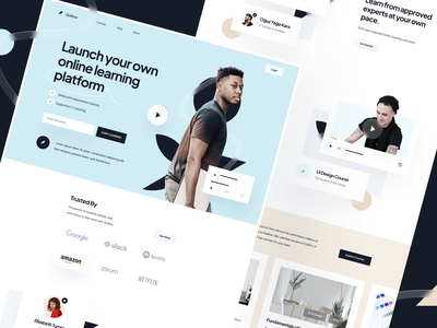Landing Page: Quillow black trendy glassmorphism hero webflow template ui design saas landing page landing page ui landing page design animation education app landing education website education landing page