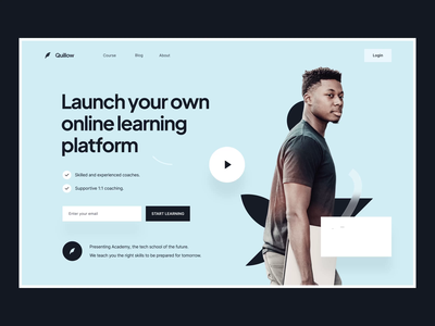 Animation Landing Page: Quillow hero after effects education platform education platform landing page design landing page ui design saas landing page landing ui animation after effects landing page animation