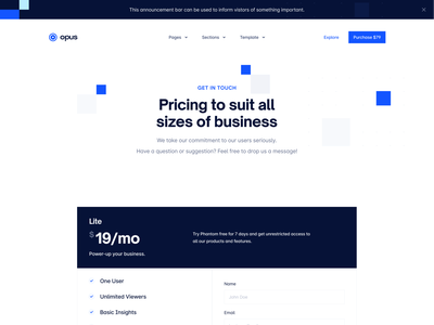 Opus Landing Page: All Pages (Webflow UI Kit) webflow landing page about pricing hero blue landing page business landing page landing page kit ui kit business ui kit business webflow landing page
