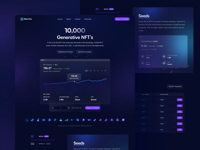 Landing Page: Blue.Ceo NFT Project gradient dark theme dark landing page landing page design company collection nft collection bitcoin nft project graph ceo landing page nft