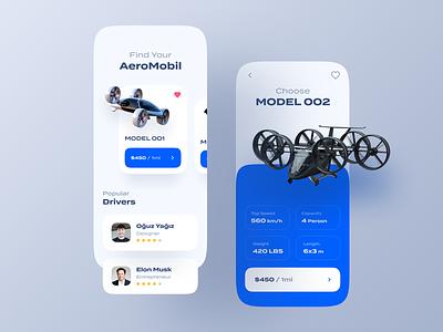 Aero Mobil Re-Design - Mobile App fly app driver app aero mobile design mobile application 2020 trend mobile drone mobile app design ui mobile app
