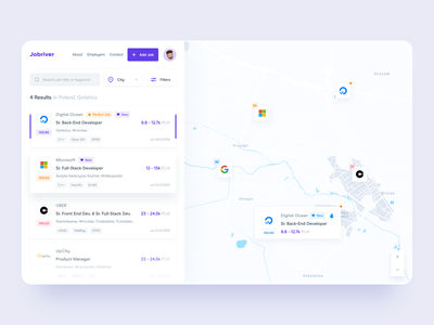 Find Job Web App - Dashboard UI dashboard app search bar filter results card design ui map web application map dashboard job dashboard job board job listing dashboard ui web app dashboard