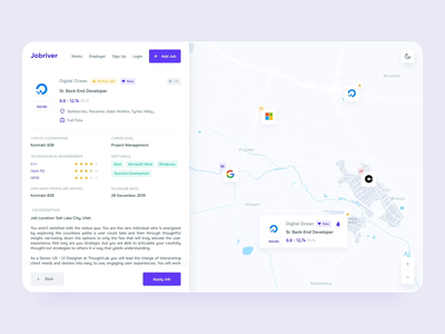 Dashboard Detail UI - Find Job Web App dashboard ui ui detail page list job find map map dashboard dashboard app dashboard design minimal clean web app detail dashboard
