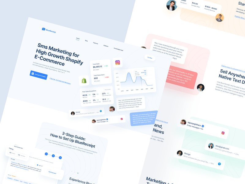 BlueReceipt: Landing Page hero section saas landing page web product page product design overview landing page landing shopify saas