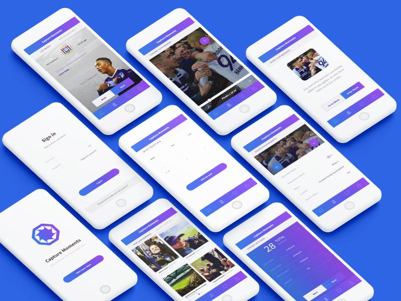 Capture Moments UI/UX App web design football app design application clean ux ui ios design interface mobile app