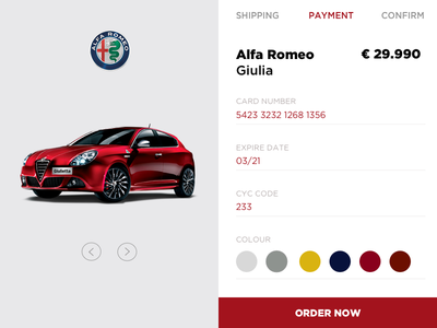 Alfa Romeo credit card checkout #dailyui branding alfa romeo website web design web ux ui minimal interface design dailyui clean