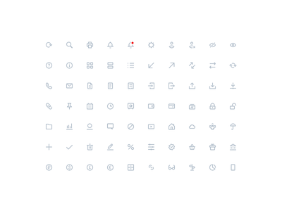 Set of 18x18 icons for VTB