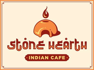 Stone Hearth Logo fire flame oven cafe india indian branding logo