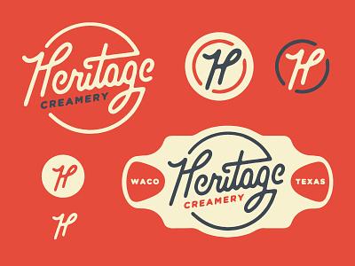 Heritage creamery Logo vintage creamery cream heritage type typography logo branding red h hand drawn