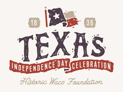 Texas Independence Day Celebration hand drawn blue white red typography type illustration drawn flag texas