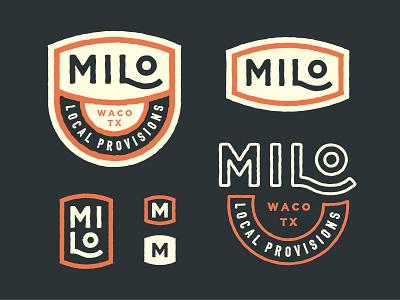 Milo Local Provisions hand drawn stamp badge drawn icon branding type logo milo