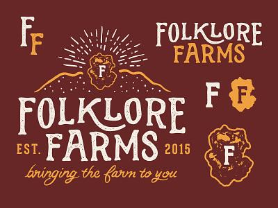 Folklore Farms hand drawn drawn sketch logo f branding illustration yellow red folk folklore farm