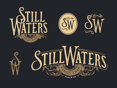 Still Waters Logo Design still waters hand drawn tan brown black type branding typography illustration logo