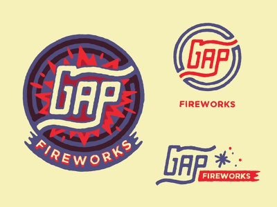 Gap Fireworks hand drawn branding typography illustration logo gap fireworks