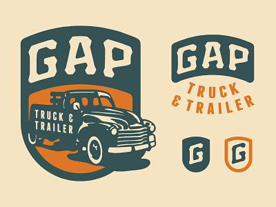 Gap Truck & Trailer hand drawn logo branding car trailer truck crest type illustration badge