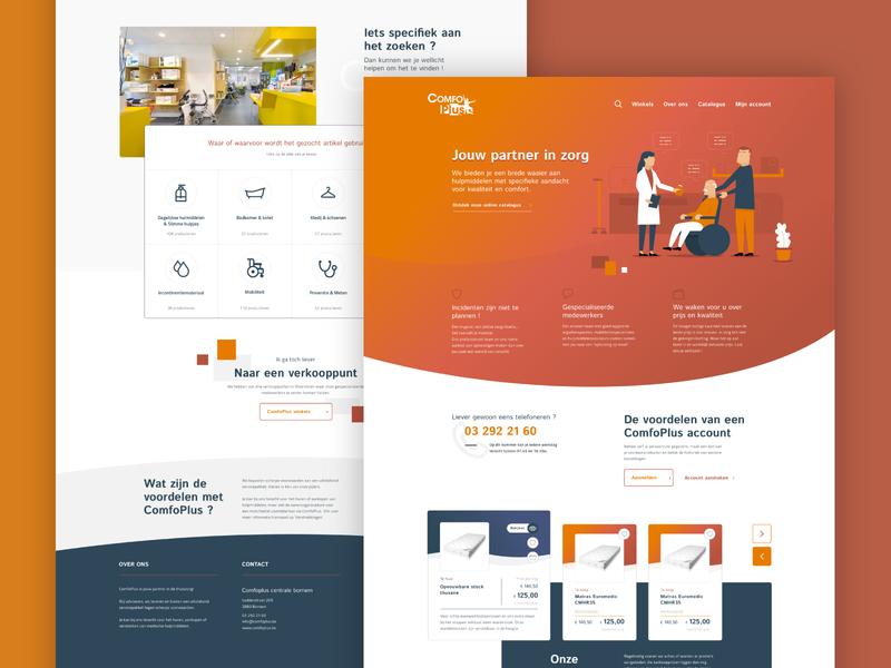 Comfoplus - Landing Page care health medical icons set landing page ux illustration e-commerce ui design webdesign