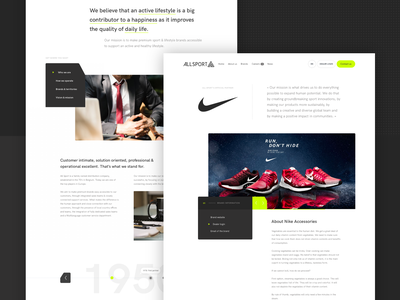 All Sport - About & Brand Page ui design webdesign brand assets about me sport branding wholesaler warehousing nike corporate slider timeline history sport brand about