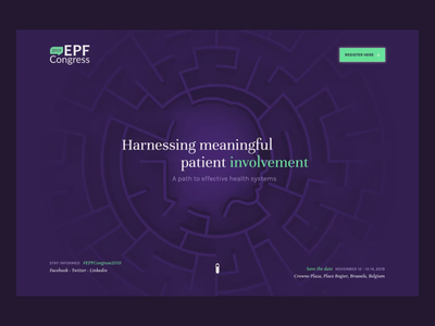 EPF Congress 2019 - Harnessing meaningful patient involvement landing page interaction cinema 4d 3d webgl epf congress health ui animation illustration webdesign design