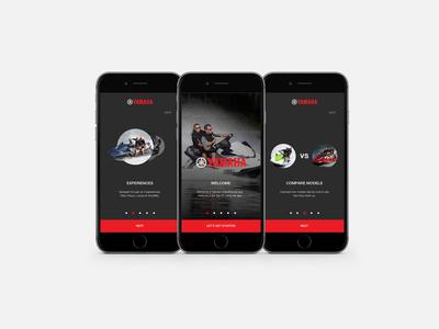 Yamaha Onboarding iPhone - WaveRunners Mockup waverunners concept design ux ui welcom tutorial screen iphone onboarding yamaha