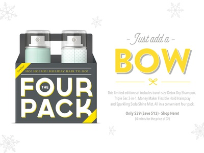 Drybar Four Pack Email christmas marketing blast email packaging typography bow yellow design drybar
